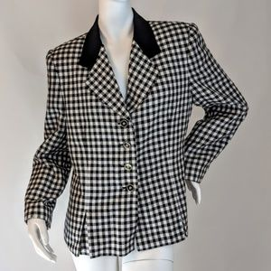 Black & White Button Down Checked Jacket sz 12P